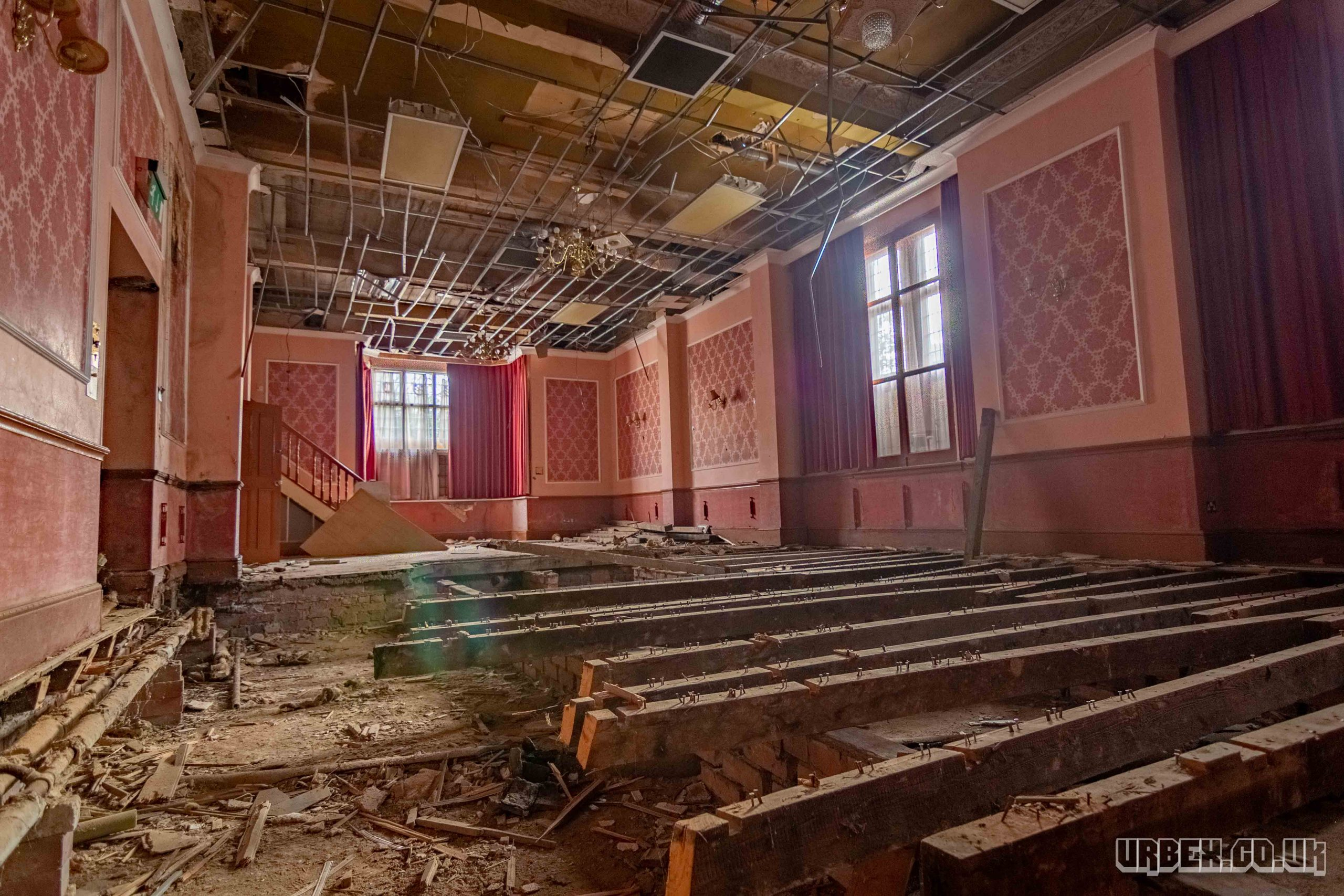 Dilapidated dance room in an abandoned hotel